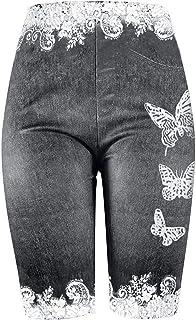 Women Pants QUINTRA Skinny Butterfly Print Casual Jeggings Faux Denim Jean Yoga Short Pants