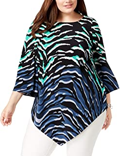 Plus Size Printed Pointed Hem Tunic Top in Chic Zebra Print