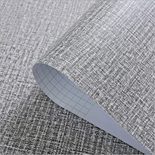 Yija Self-Adhesive Linen Gray Pattern Waterproof Shelf Drawer Liner Cabinet Sticker,Wallpaper 15.6Inch by 98Inch