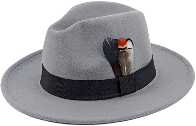 Men's Vintage Style Hats, Retro Hats Classic Fedora Hat for Men & Women Wide Brim Panama Hat Vintage Gangster Hat with Black Band and Feather  AT vintagedancer.com
