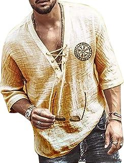 KEEPWO Men's Cotton Grandad Shirt Tops Summer Half Sleeve T-Shirts,Drawstring Printed V-Neck Shirts Plus Size