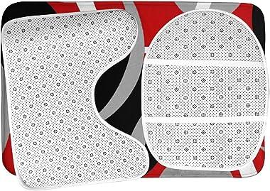 Vbcdgfg Bathroom Rugs Sets 3 Piece Modern Circles Swirls Gray Black Red Bathroom Rugs Mats Set 3 Pieces Bath Rugs for Bathroo