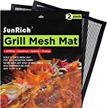 Sunrich BBQ Grill Mesh Mat Barbecue Cooking Mat Non-Stick Set(2) for Outdoor Grilling Teflon Grill Mesh Sheet Liner Heavy Duty Easy to Clean for Smoker,Gas,Charcoal,Electric Grill,Oven