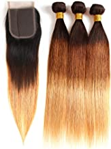 Ombre Brazilian Hair Straight Bundles 3pcs, Ombre Human Hair Weaves 3Tone Black to Brown to Blonde (16 18 20+16