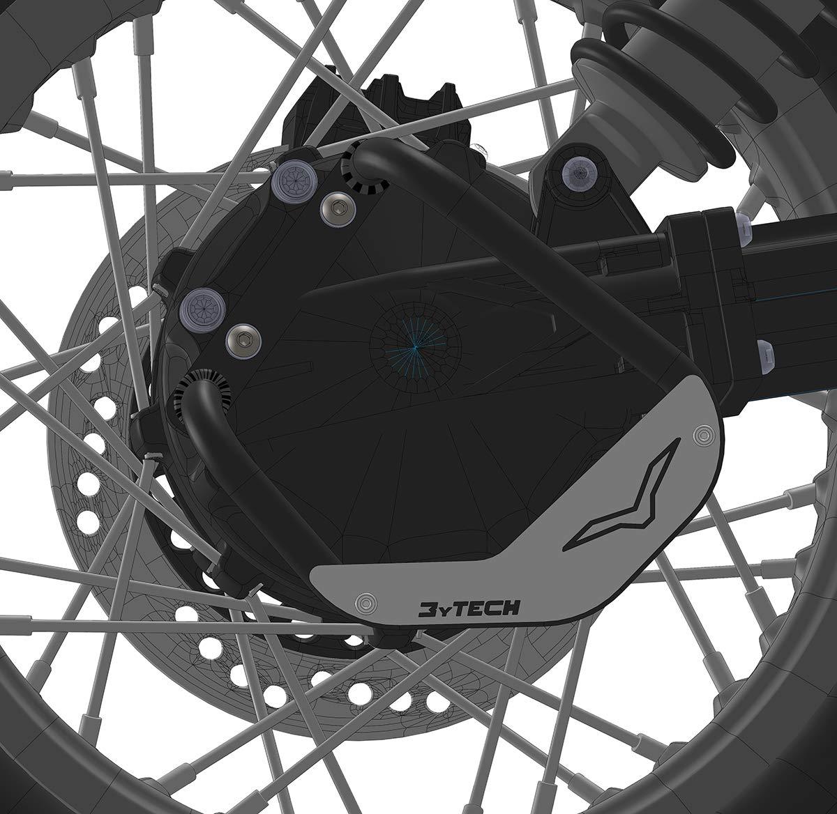 MyTech – Protección cardán de acero negro e inserto de aluminio anodizado plateado para Moto Guzzi V85TT: Amazon.es: Coche y moto