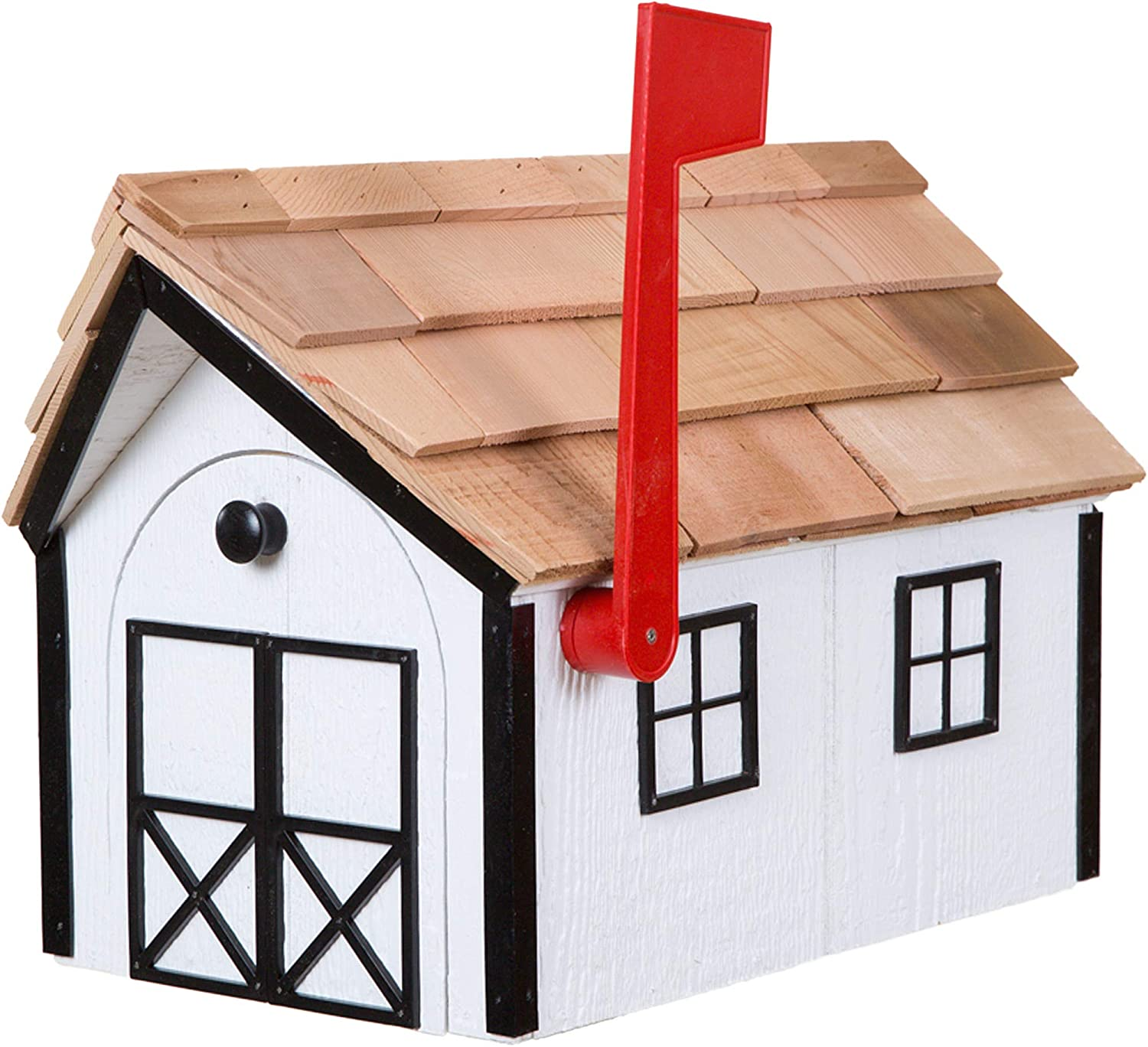 All items free 35% OFF shipping Amish Cedar Roof Wooden Mailbox with Window Trim w White Door