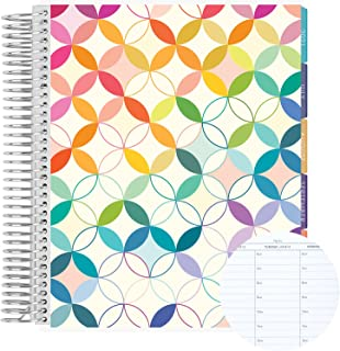"""$66 » 18 Month 7"""" x 9"""" Spiral Coiled Hourly Life Planner/Agenda (July 2021 - December 2022). Mid Century Circles Flexible Cover,..."""