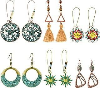 6 Pairs Bohemian Vintage Drop Earrings for Women National Style Bronze Color Alloy Geometric Hollow Pendant Earrings Set