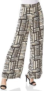 Roman Originals Damen Streifen Muster Weites Bein Hose Elfenbein