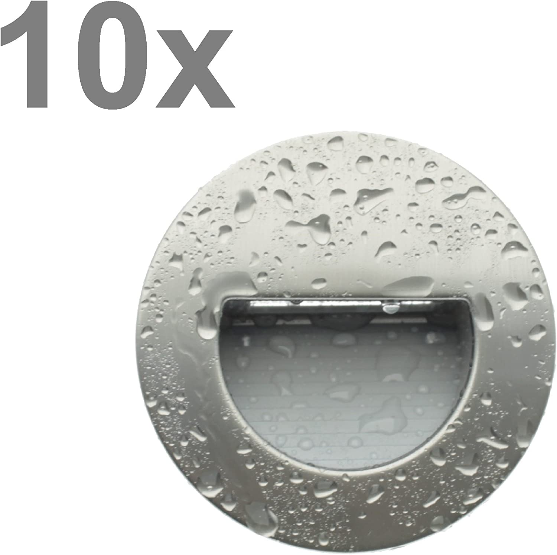 Trango 10er Pack LED Treppenbeleuchtung Wandstrahler Orientierunglicht in eckig 3000K warmweiss IP44 - Edelstahl-Look 10TGSL16R