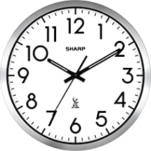"Sharp Atomic Analog Wall Clock - 12"" Silver Brushed Finish - Sets Automatically- Battery Operated - Easy to Read - Easy to..."
