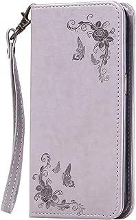 NEXCURIO [Embossed Flower] Samsung Galaxy J1 Ace (J110) Wallet Case with Card Holder Folding Kickstand Leather Case Flip Cover for Samsung Galaxy J1 Ace (J110) (Grey)
