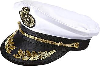 Widmann 0186S – Luxushut Kapitän, schwarz-weiß, mit goldfarbenen Verzierungen, Kopfbedeckung, Hut, Seemann, Kapitän, Sommerfest, Junggesellenabschied, Motto Party, Karneval
