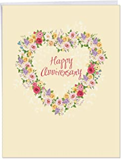 Heartfelt Thanks - Floral Heart Anniversary Greeting Card with Envelope (Large 8.5 x 11 Inch) - Flower Wreath, Elegant Wedding Anniversary Card - Big Congrats Gift for Wife, Women J6578AANG