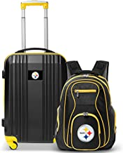"""Denco Pittsburgh Steelers 2-Piece Luggage Set, Includes 21-inch Two-Tone Hardcase Spinner and 19"""" Laptop Backpack"""