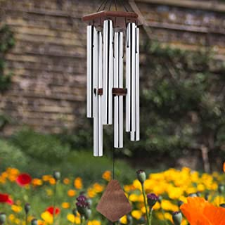 Wind Chimes Outdoor Large Deep Tone,36Inch Amazing Grace Wind Chimes Personalized with 6 Tubes Tuned Relaxing Melody,Memorial Wind Chimes for Mom Dad,Sympathy Gifts,Silver(A Free Card)