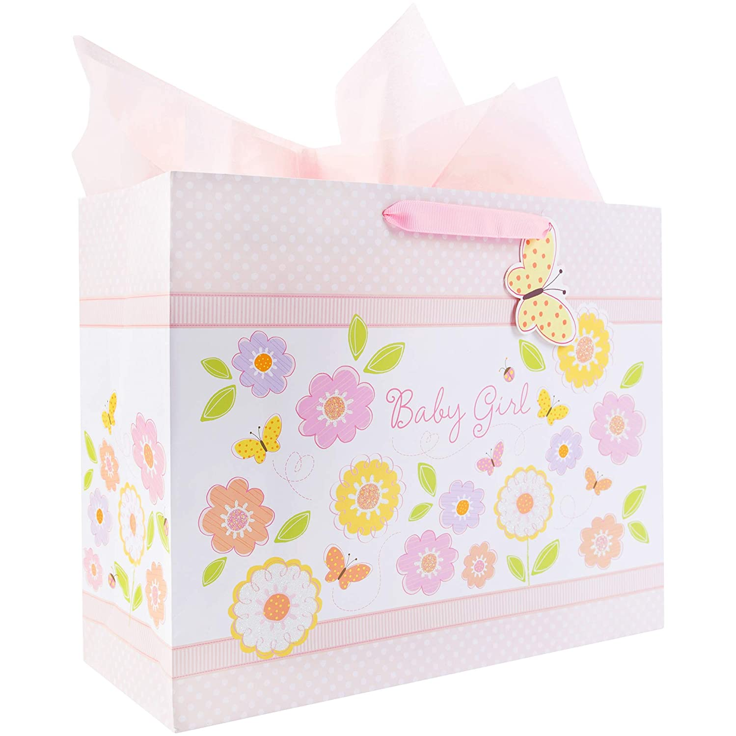 C.R. Gibson 'Sweet Baby Girl' Large Baby Gift Bag with Tissue Paper, 12.5'' W x 10.25'' H x 4.25'' D