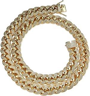 18K Or Rose Bling Out Glacé Cubain Miami Lien Micropave Homme Femme Bracelet 15 mm