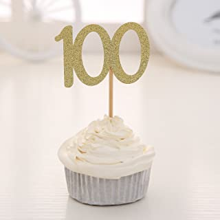 Set of 24 Golden Glitter Number 100 Cupcake Toppers Baby's One Hundred Days 100th Celebrating Party Decors