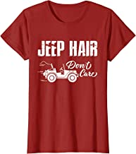Womens Funny Womens Tshirt Jeep Hair Dont Care Ladies Off road Gear T-Shirt
