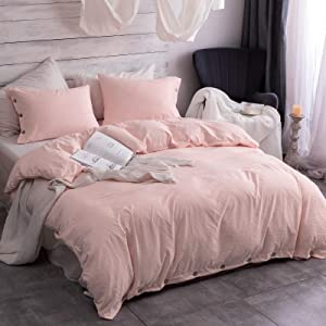 Argstar 3 Pieces Button Duvet Cover Queen Size, Peach Duvet Cover Set with Button Closure, Washed Microfiber Soft & Easy Care Bedding Comforter Cover with Ties (1 Pink Duvet Cover, 2 Pillowcases)