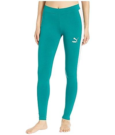 PUMA Classics Logo T7 Leggings (Teal Green) Women