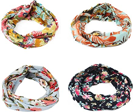 421802f1318a GES 4 Packs Headbands Floral Print Cotton Headbands Vintage Elastic Printed  Head Wrap Stretchy Moisture Hairband