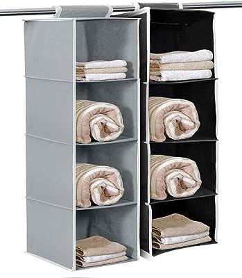 Kuber Industries Non Woven Hanging 4 Shelves Foldable Wardrobe/Closet Cloth Organizer (Grey & Black)-Pack of 2-KUBMART15336