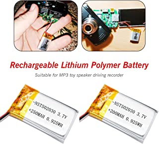 3.7V 250mAh/200mAh 502030 Lithium Polymer Li-Po li ion Rechargeable Battery Lipo Cells for MP3 MP4 Toys Speaker Tachograph POS