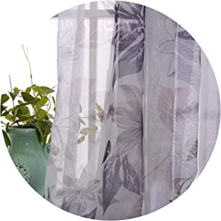 Amazing21 Pastoral Leaves Printed Cotton Linen Curtains for Bedroom for Living Room Sheer Voile Curtains Window Drapes,Tulle,W100Cm X L250Cm,Pencil Pleat