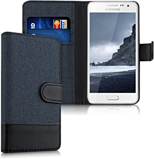 kwmobile Wallet Case for Samsung Galaxy A3 (2015) - Fabric and PU Leather Flip Cover with Card Slots and Stand - Dark Blue/Black
