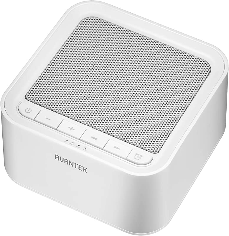 White Noise Machine AVANTEK Sound Machine For Sleeping 20 Non Looping Soothing Sounds With High Quality Speaker Memory Function 30 Levels Of Volume And 7 Timer Settings