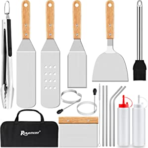 ROMANTICIST 17pcs BBQ Griddle Accessories Cooking Kit, Heavy Duty Wooden Handle Grill Utensils Tool Set, Stainless Steel Spatula, Tongs, Scraper for Flat Top, Teppanyaki, Hibachi, Camping, Tailgating