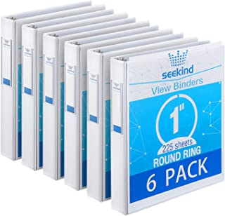 "3 Ring Binder 1 Inch, SEEKIND View Binders White, Holds Up to 8.5""11"" Paper, 1 inch White 3 Ring Binder with Clear Front P..."