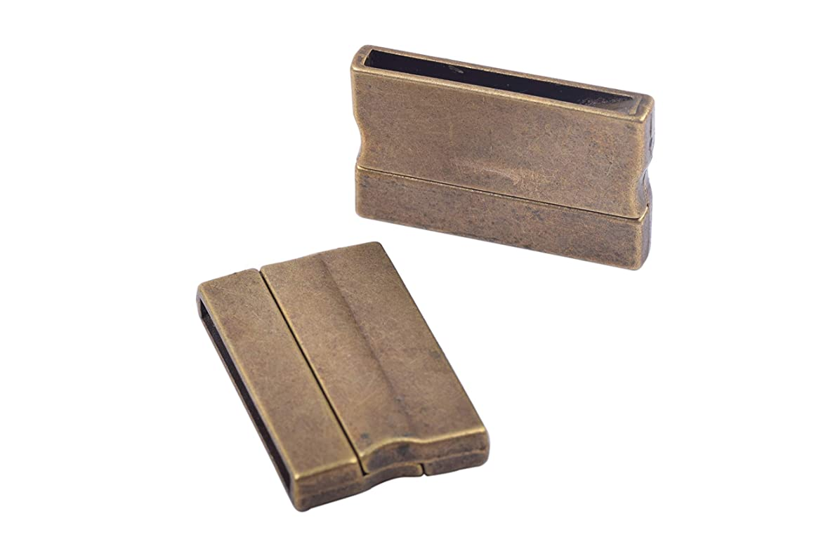 KONMAY 3 Sets Antique Brass Rectangle 30.0x3.0mm Glue-in Ends Flat Magnetic Jewelry Clasp