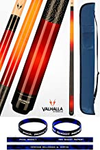 product image for Valhalla VA238 by Viking 2 Piece Pool Cue Stick Red Faded European Stain Nylon Wrap 18-21 oz. Plus Cue Case & Bracelet (Red VA238, 18)