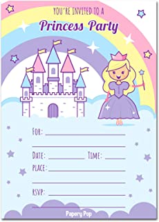 Papery Pop Princess Birthday Invitations with Envelopes (15 Count) - Kids Birthday Party Invitations for Girls