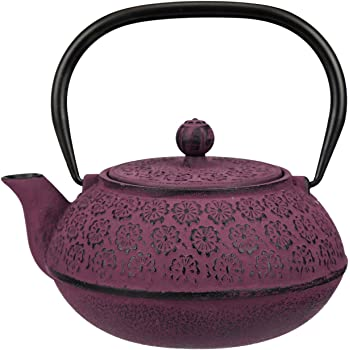 30 oz Cast Iron Teapot Enamel Lining W/Metal Infuser Tea Kettle,Purple