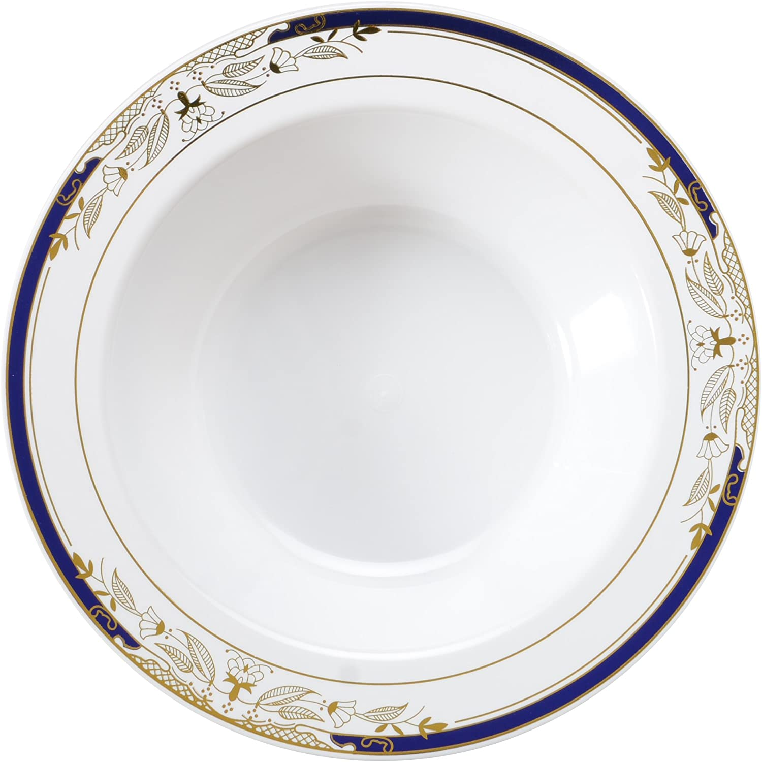 Signature blue 120 Piece Soup Salad Bowl with Cobalt Trim & gold Stamping, 12 oz, White