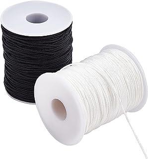 PH PandaHall 200 Yards Nylon Braided Lift Shade Cord, 1.5mm Nylon Beading Cord Black White Chinese Knotting for Kumihimo, ...