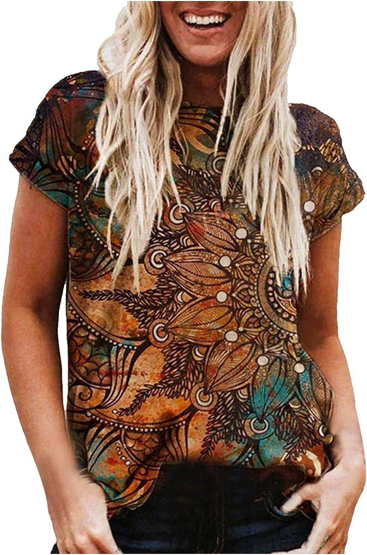 BUGI Printing Short Sleeves for Women,O-Neck T-Shirt Blouse Summer Casual Outdoor Beach Loose Tunics for Women