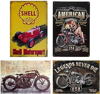 Easy Painter 4 St/ück Shell Motorsport Indian Motorcycle Series Metall Blechschilder Vintage Cafe Pub Bar Garage Decor Chic 19,8 x 30 cm