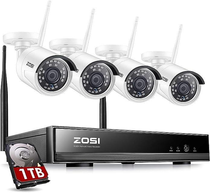 ZOSI Kit de Cámaras Seguridad WiFi 1080P Sistema Vigilancia Inalámbrica 8CH H.265+ NVR con 4pcs Cámaras de Videovigilancia Exterior IP67 Impermeable Detección de Movimiento1TB Disco Duro