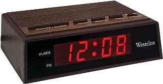 Westclox 22690 Retro Wood Grain LED Alarm Clock, 0.6-Inch