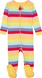 Leveret Striped Baby Girls Footed Pajamas Sleeper 100% Cotton Kids & Toddler Pjs (0 Months-5 Toddler)