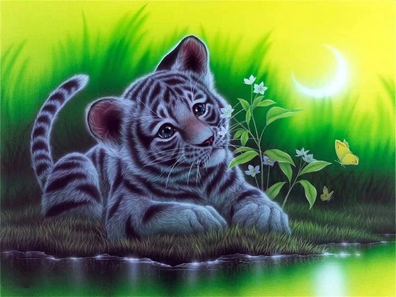 DIY 5D Diamond Embroidery Oil Painting, Little Tiger on River Diamond Painting Cross Stitch Kits Diamond Mosaic Home Decor