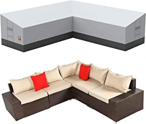 ClawsCover Patio V-Shaped Sectional Sofa Cover Waterproof Outdoor Heavy Duty Sectional Couch Cover Durable 600D Oxford Cloth Patio Furniture Set Cover,6 Windproof Straps,Air Vent, 89