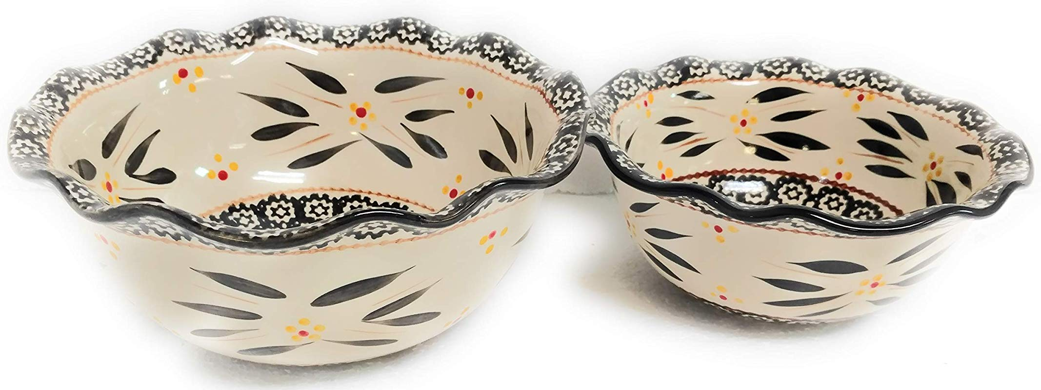 Temp Tations Set Of 2 Bowls Ruffle Edge Mix Bake Serve 2 0 Qt 1 0 Qt Old World Black