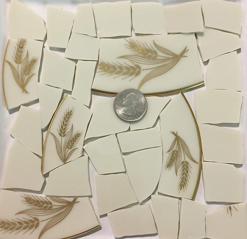Mosaic Art & Crafts Supply ~ Metallic Gold Wheat Design Cream White China Tiles (B896)