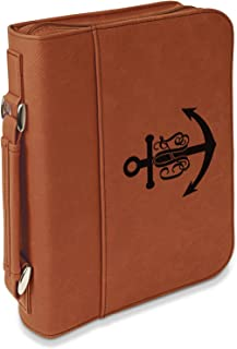 Monogram Anchor Leatherette Bible Cover with Handle & Zipper - Small - Single Sided (Personalized)